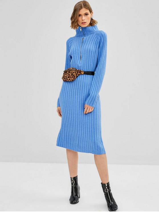 affordable Half Zip Knitted Sweater Dress - BLUE ONE SIZE
