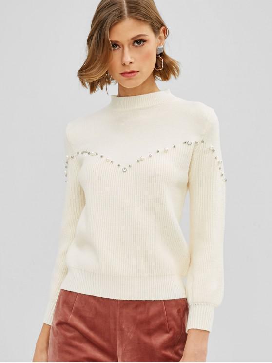 Suéter de perlas de imitación de cuello redondo - Blanco Cálido Talla única