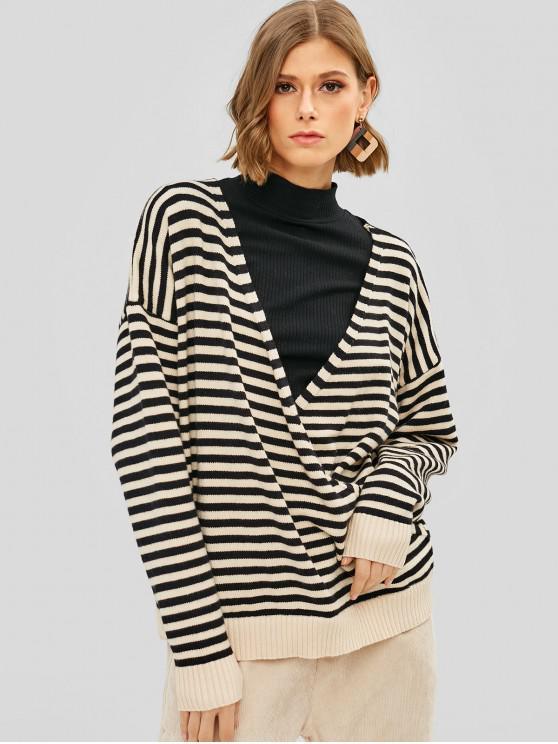 hot Striped Surplice Oversized Sweater - MULTI ONE SIZE