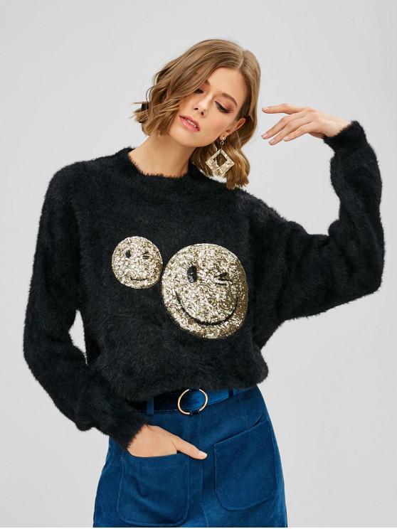 Emoji Fuzzy Sweater mit Pailletten - Schwarz Eine Größe