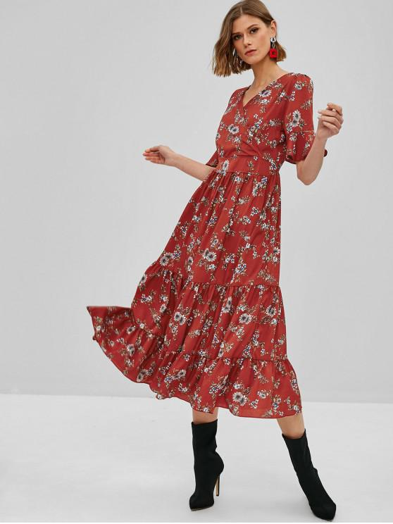 best Floral Ruffles Surplice Maxi Dress - CHESTNUT RED M