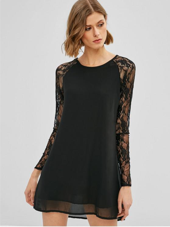 hot Raglan Sleeve Lace Panel Mini Dress - BLACK S