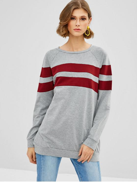 trendy Raglan Sleeve Stripes Panel Top - GRAY M