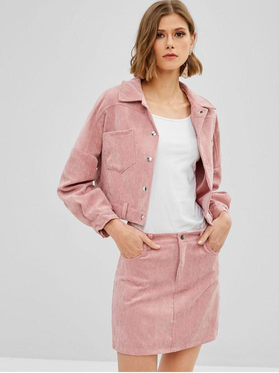 f0ecbdd5bf 30% OFF] 2019 Corduroy Jacket And Mini Skirt Two Piece Set In LIGHT ...