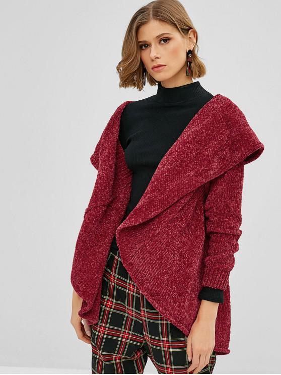 hot Loose Plain Open Front Cardigan - RED M