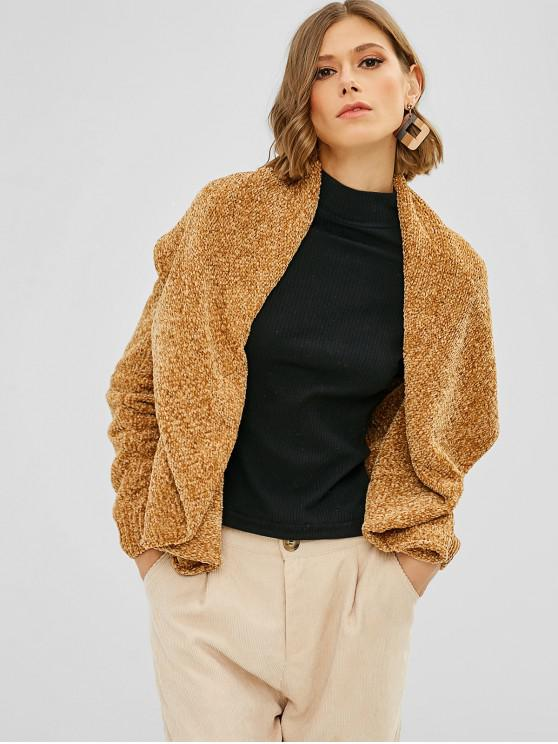 outfits Loose Plain Open Front Cardigan - CARAMEL M