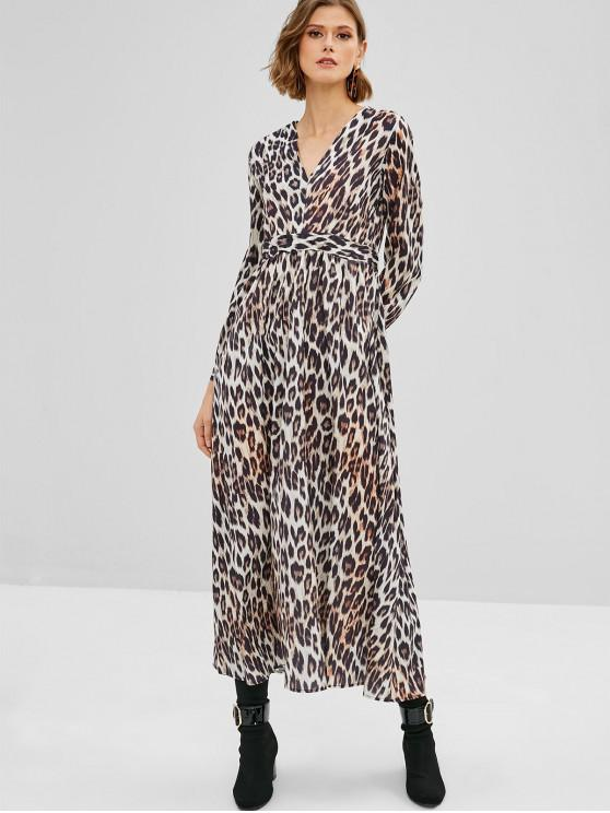 trendy Long Sleeve Leopard Maxi Dress - MULTI M