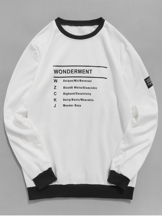 womens Two Tone Letter Print Fleece Sweatshirt - WHITE XS