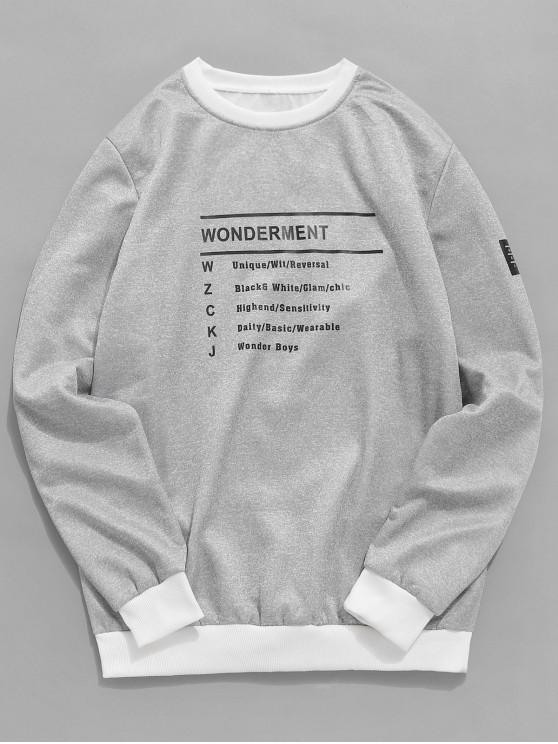 lady Two Tone Letter Print Fleece Sweatshirt - GRAY S
