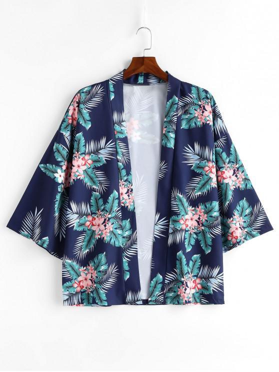 latest Flowers Leaves Print Kimono Jacket - BLUEBERRY BLUE 2XL