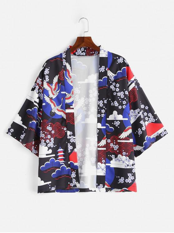 unique Japanese Elements Print Kimono Jacket - BLUE M