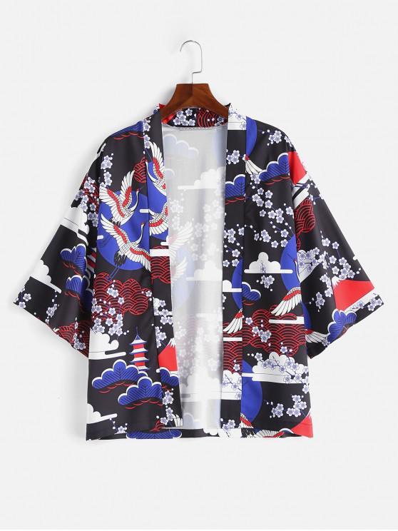 sale Japanese Elements Print Kimono Jacket - BLUE L