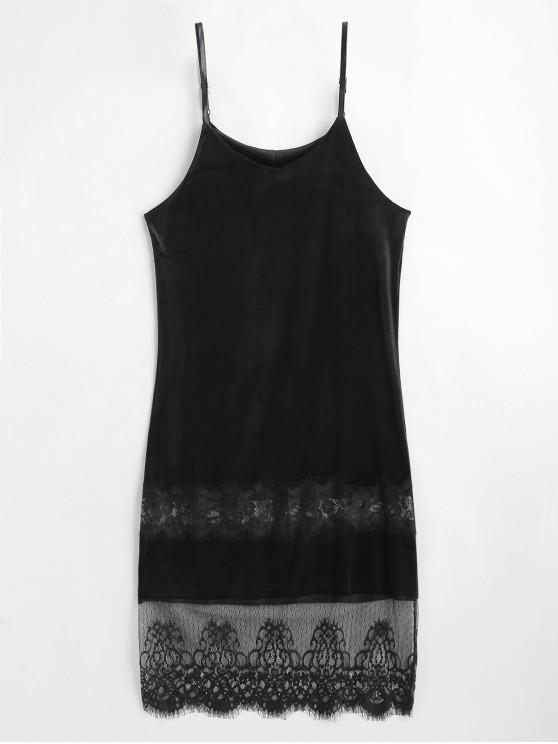 trendy Lace Panel Velvet Cami Dress - BLACK M