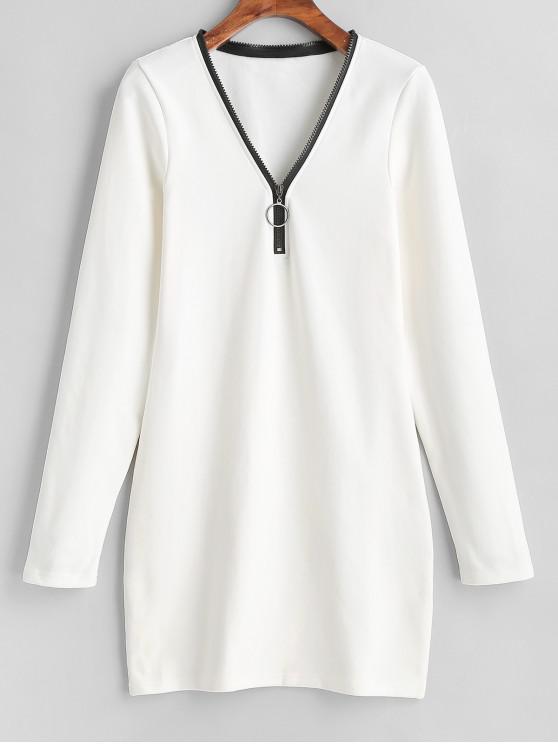 長袖半拉鍊緊身連衣裙 - 牛奶白色 L