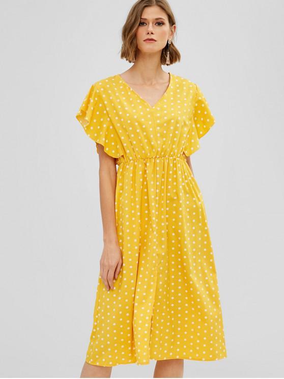 chic Ruffles Polka Dot Slit Midi Dress - RUBBER DUCKY YELLOW S