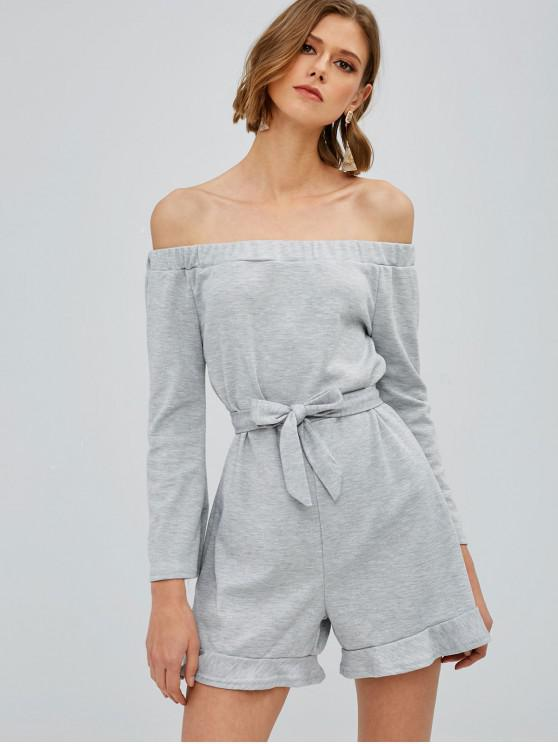 buy Long Sleeve Belted Off Shoulder Romper - LIGHT GRAY M