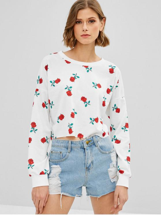 latest Floral Print Crop Sweatshirt - WHITE S