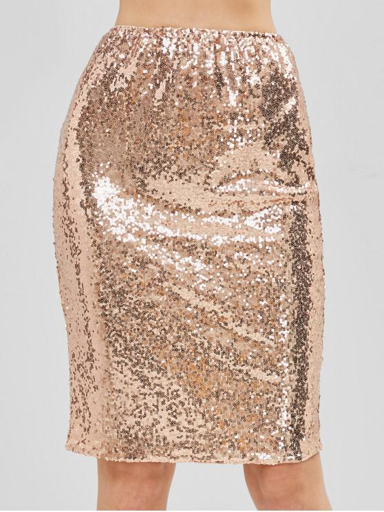 chic Back Zipper Sequins Skirt - GOLD L