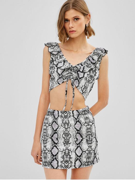 hot ZAFUL Snakeskin Print Ruched Crop Skirt Set - MULTI-A S
