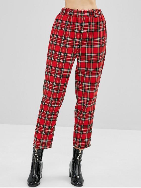 latest High Waist Straight Plaid Pants - RED S