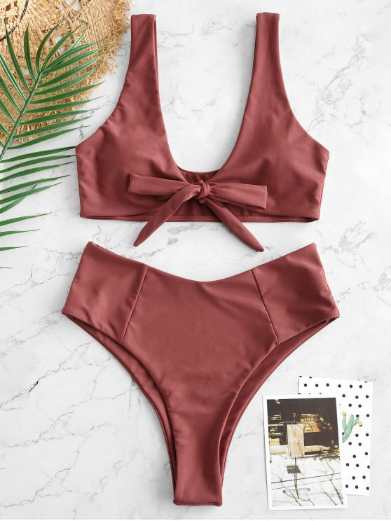 online Bowknot High Waisted Bikini Set - CHESTNUT RED M