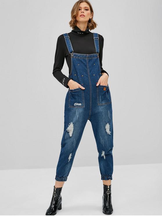 fashion Graphic Distressed Denim Jogger Overalls - DENIM DARK BLUE L