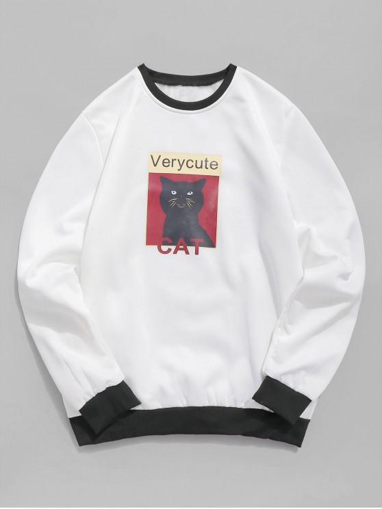 affordable Cat Graphic Fleece Sweatshirt - WHITE XS