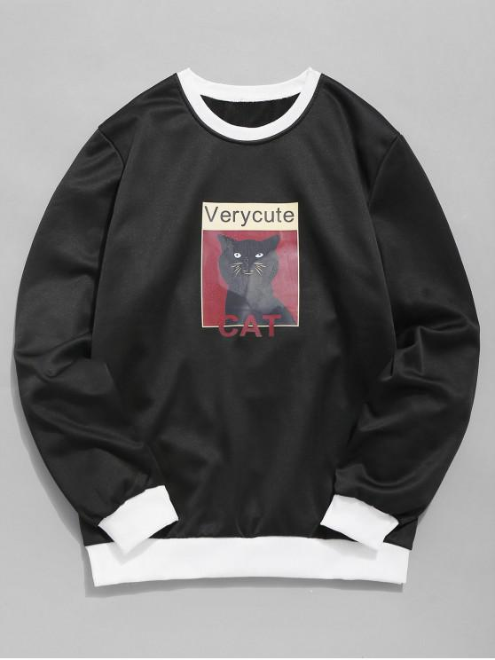 women Cat Graphic Fleece Sweatshirt - BLACK XS