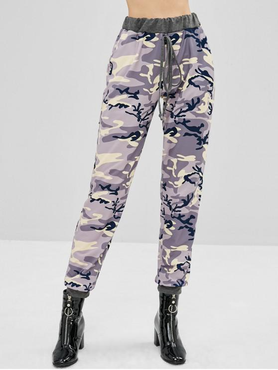 womens Tied Camouflage Sports Pants - ACU CAMOUFLAGE XL
