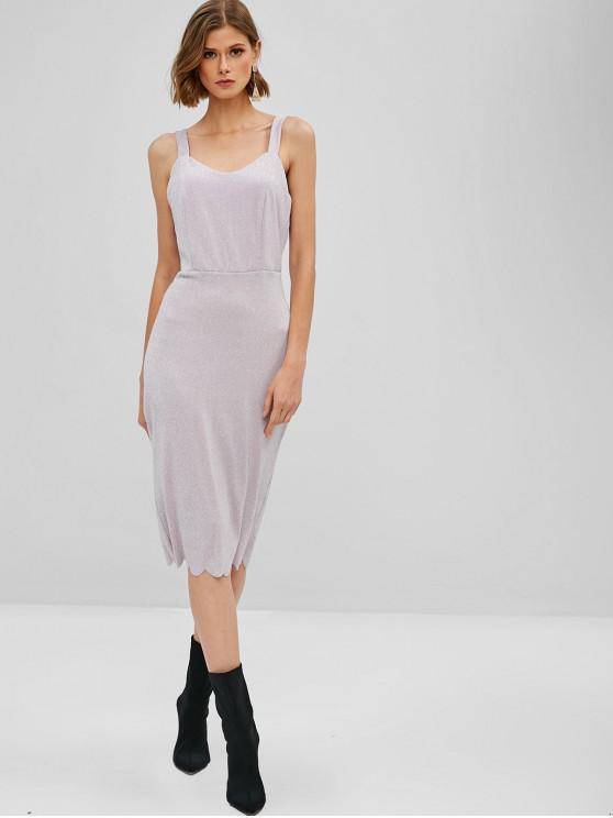 Robe Mi-longue Festonnée Brillante - Violet Wisteria S