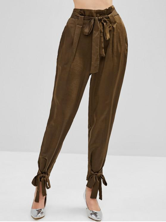ladies High Waisted Belted Knotted Pants - COFFEE M