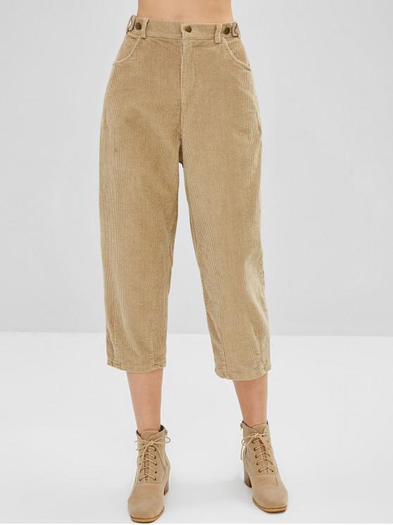 lady Corduroy Cropped High Waisted Pants - TAN XL