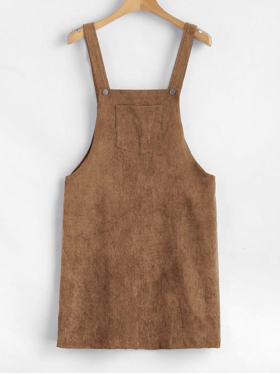 outfits ZAFUL Front Pocket Corduroy Pinafore Dress - CAMEL BROWN S