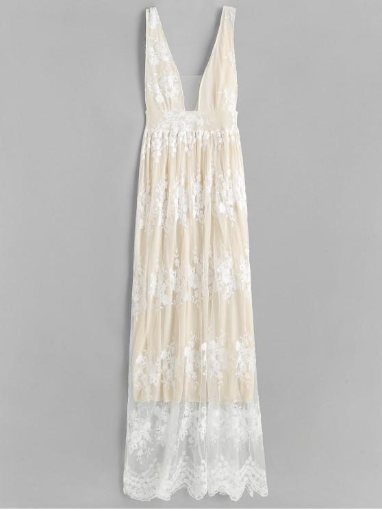 affordable Low Cut Lace Panel Maxi Dress - WARM WHITE L