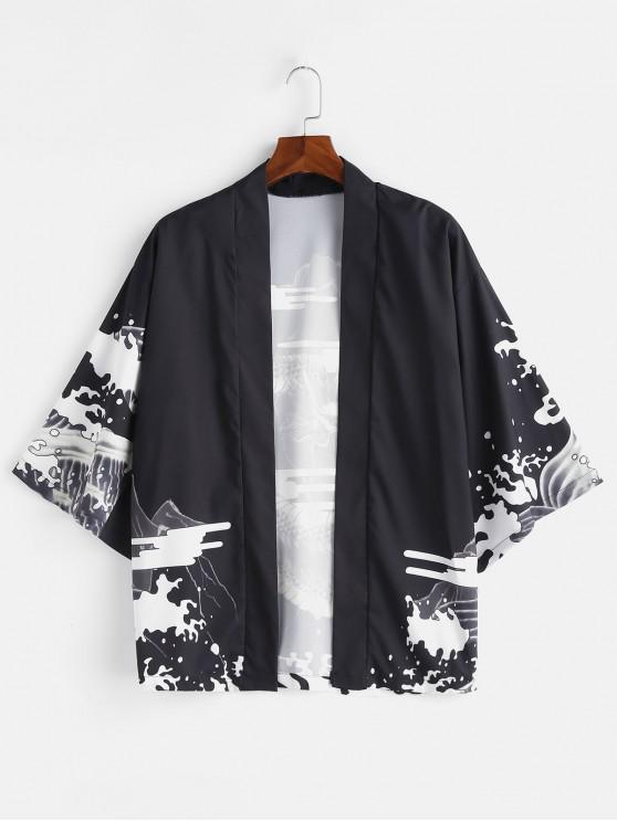 women Dragon Printed Kimono Front Open Jacket - BLACK L