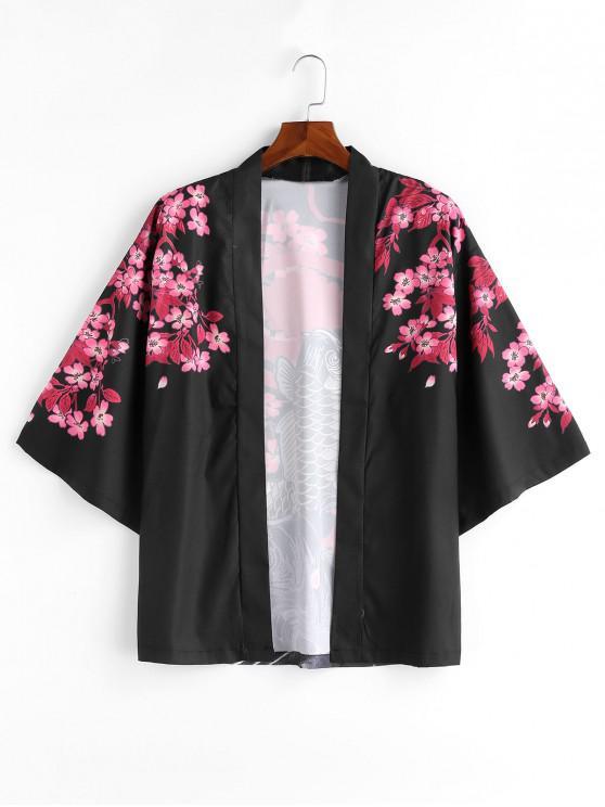 Impressão de peixe flor quimono estilo jaqueta - Preto 2XL