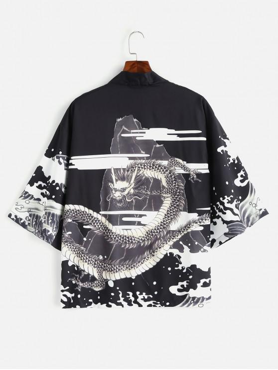 Drache bedruckte Kimono Front Open Jacke - Schwarz XL