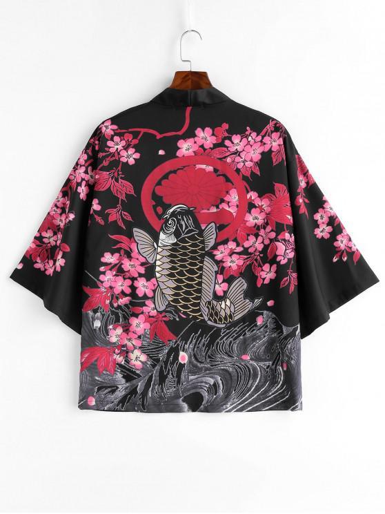 Chaqueta estilo Kimono con estampado de peces de flores - Negro 2XL