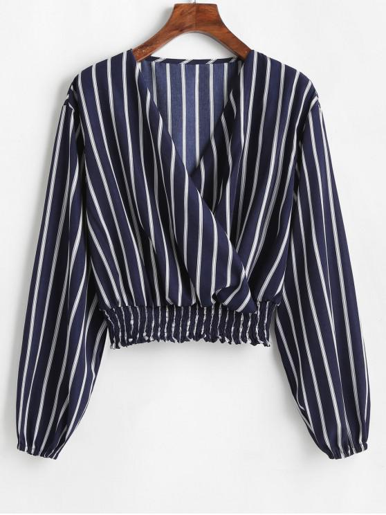 womens ZAFUL V Neck Smocked Striped Top - MIDNIGHT BLUE M