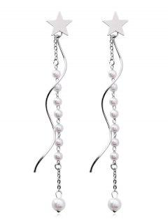 Star Design Beading Dangle Earrings - Silver