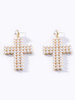 Faux Pearl Cross Shape Rhinestone Earrings - Blanco