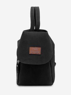 Letter Patchwork Convertible Backpack - Black