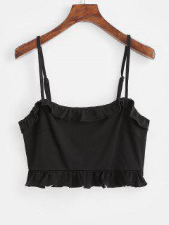 ZAFUL Ruffles Crop Cami Top - Negro  L