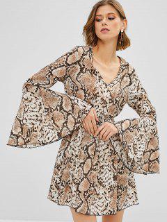 ZAFUL Flare Sleeve Snake Print Dress - Multi S