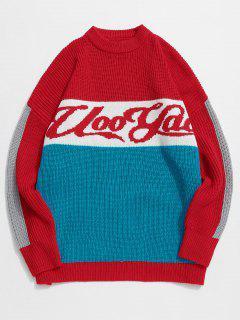 Suéter De Punto Con Patrón De Letras De Bloques De Colores - Rojo Xl