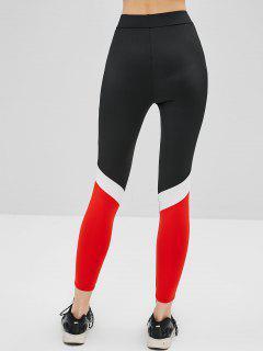 Color Block Skinny High Rise Leggings - Black L