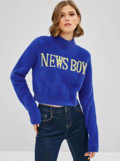 Graphic Cropped Fuzzy Sweater - Blue