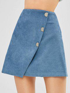 Shorts Insert Buttoned A Line Corduroy Skirt - Silk Blue M