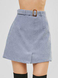 Belted Corduroy Mini Skirt With Inset Shorts - Blue Gray L