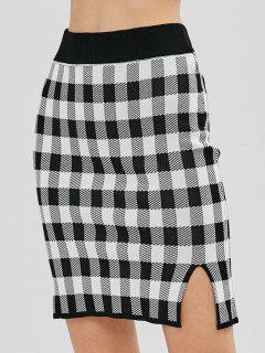 Knitted Plaid Pencil Skirt - Black